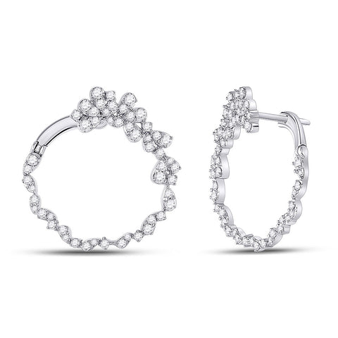 14kt White Gold Womens Round Diamond Hoop Earrings 1-1/2 Cttw