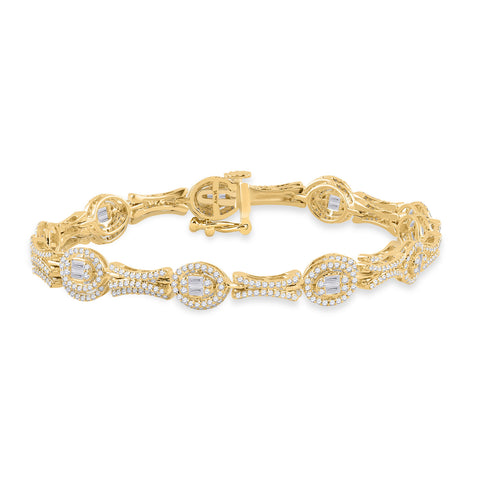 14kt Yellow Gold Womens Baguette Diamond Oval Link Bracelet 2 Cttw