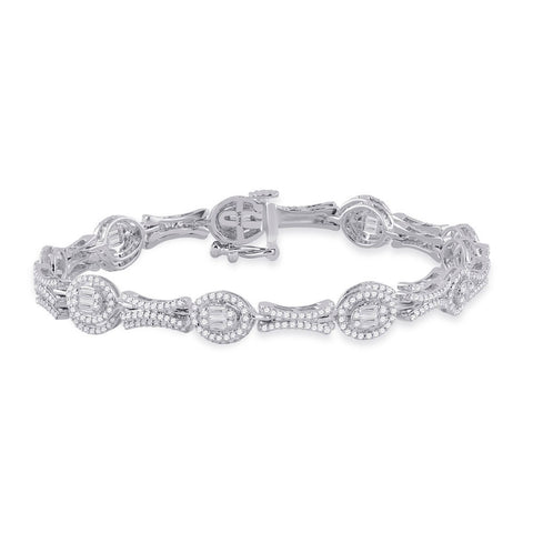 14kt White Gold Womens Baguette Diamond Oval Link Bracelet 2 Cttw
