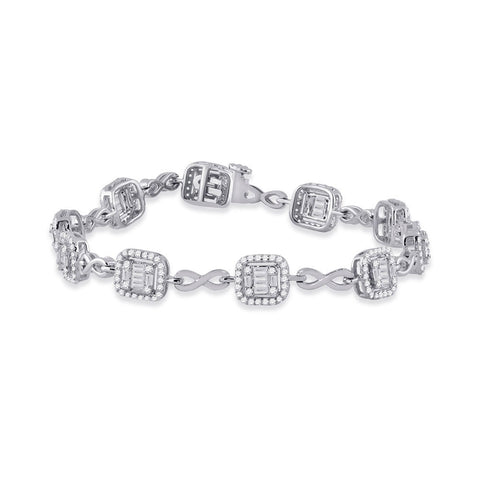 14kt White Gold Womens Baguette Diamond Square Link Bracelet 1-3/4 Cttw