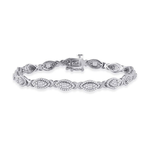 14kt White Gold Womens Baguette Diamond Fashion Bracelet 2 Cttw