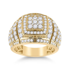 14kt Yellow Gold Mens Round Diamond Cluster Ring 3 Cttw