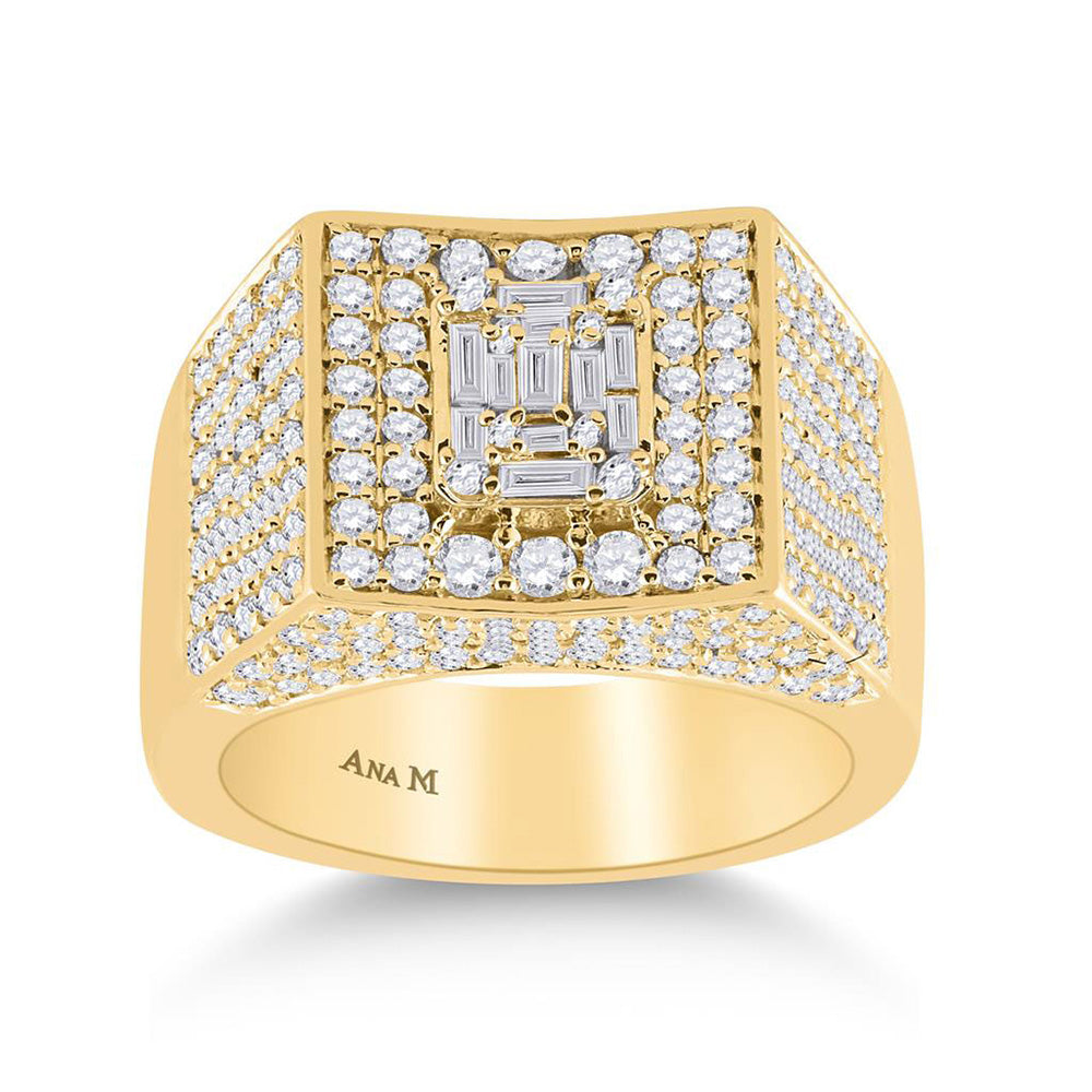 14kt Yellow Gold Mens Baguette Diamond Square Ring 2-3/4 Cttw