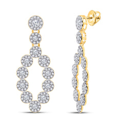 10kt Yellow Gold Womens Round Diamond Dangle Earrings 1-1/4 Cttw