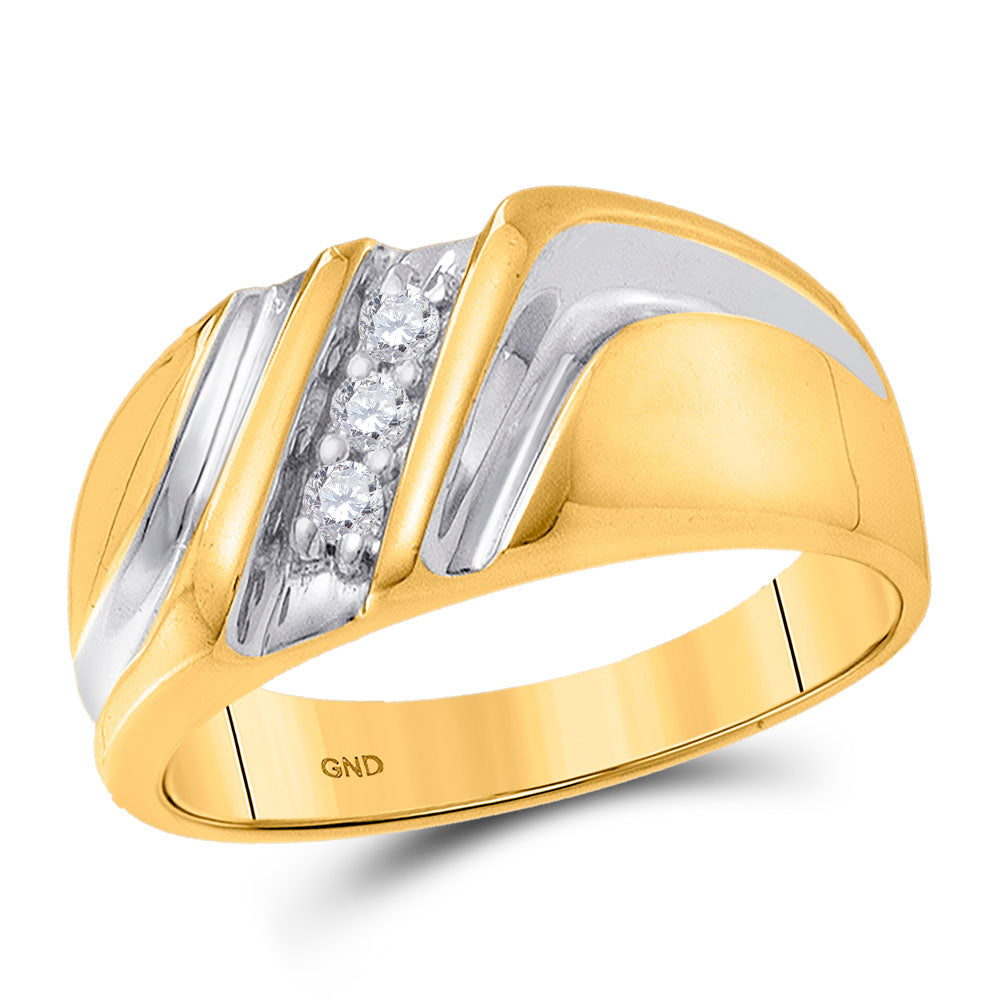 10kt Yellow Gold Mens Round Diamond Wedding Single Row Band Ring 1/10 Cttw