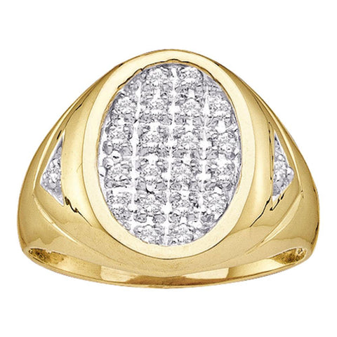 14kt Yellow Gold Mens Round Diamond Oval Cluster Ring 1/4 Cttw