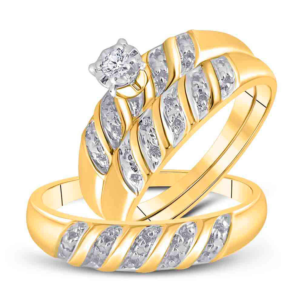 14kt Yellow Gold His Hers Round Diamond Solitaire Matching Wedding Set 1/20 Cttw