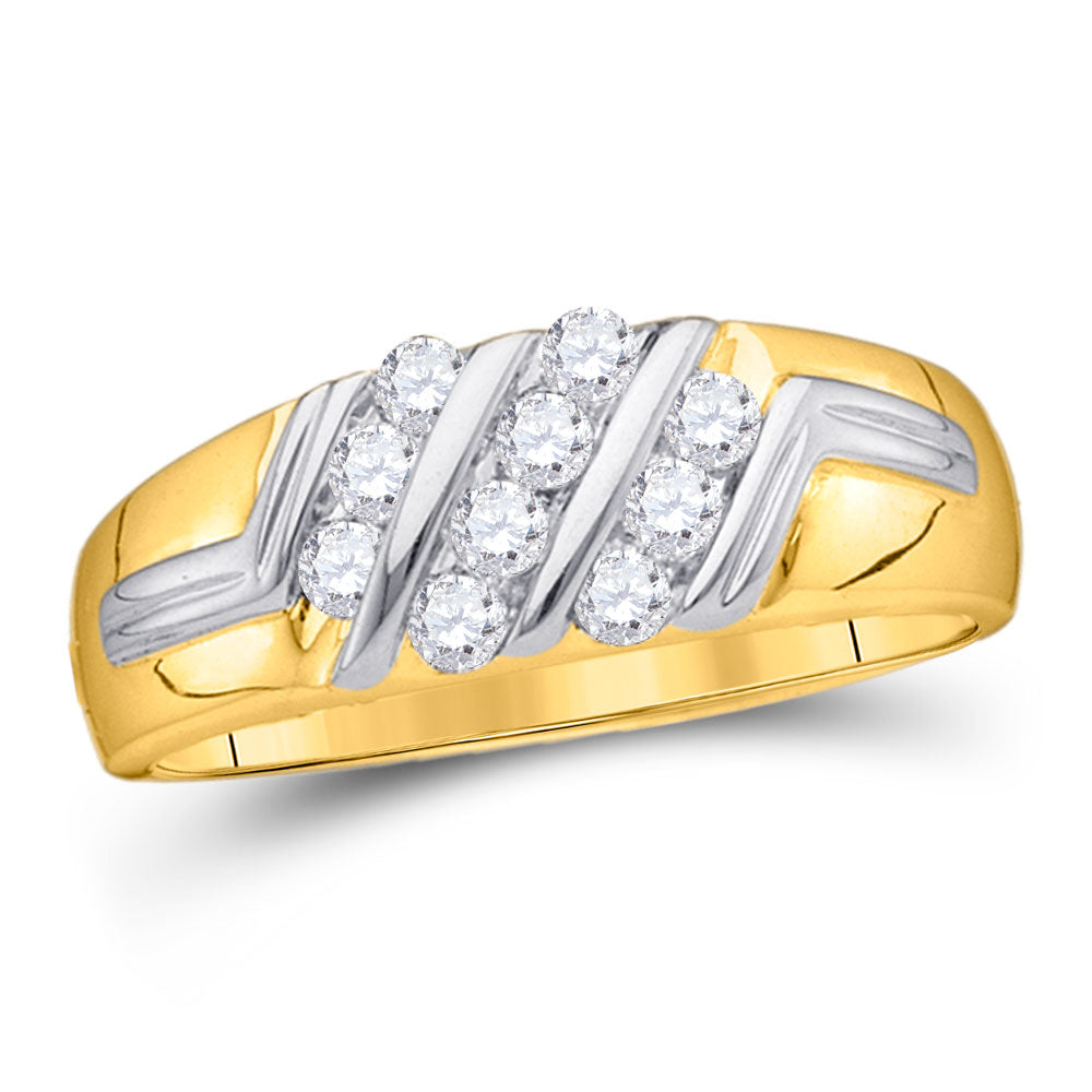 10kt Yellow Gold Mens Round Diamond Band Ring 1/2 Cttw