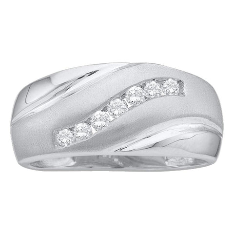 14kt White Gold Mens Round Diamond Band Ring 1/4 Cttw