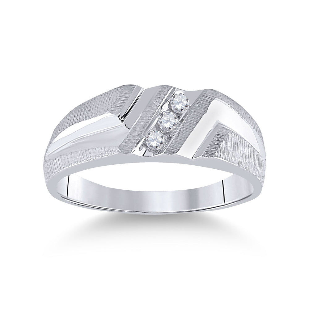 10kt White Gold Mens Round Diamond Wedding Band Ring 1/10 Cttw