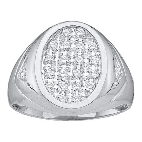 14kt White Gold Mens Round Diamond Oval Cluster Ring 1/4 Cttw