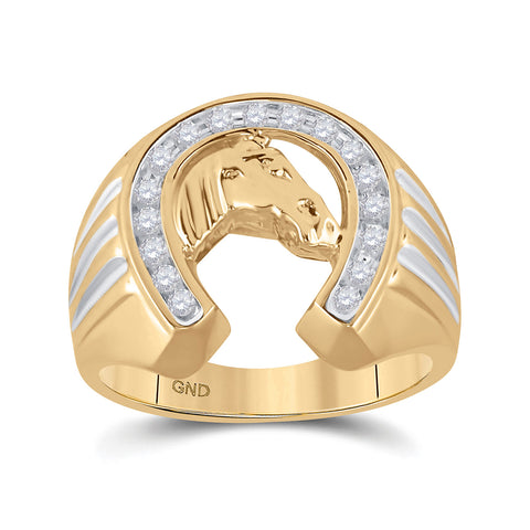 10kt Yellow Gold Mens Round Diamond Horseshoe Ring 1/4 Cttw