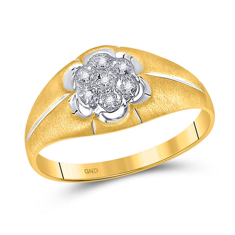 10kt Yellow Gold Mens Round Diamond Matte Flower Cluster Ring .02 Cttw
