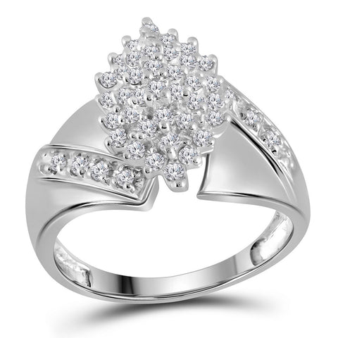 14kt White Gold Womens Round Diamond Cluster Ring 1/2 Cttw