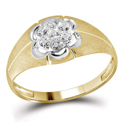 14kt Yellow Gold Mens Round Diamond Matte Cluster Ring .02 Cttw