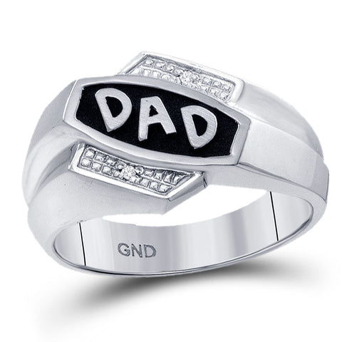 10kt White Gold Mens Round Diamond Dad Father Ring .01 Cttw
