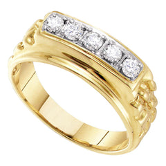 10kt Yellow Gold Mens Round Diamond Single Row Nuggest Band Ring 1/2 Cttw