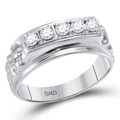 10k White Gold Mens Traditional Round Diamond Nugget Wedding Band 1/2 Cttw