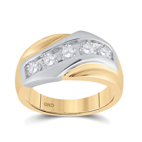 14kt Yellow Gold Mens Round Diamond 5-Stone Band Ring 1 Cttw