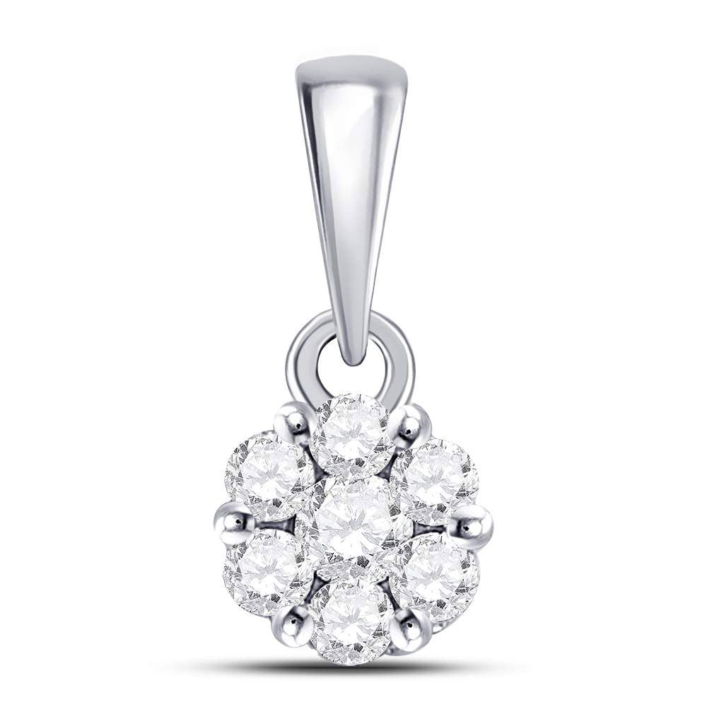 14kt White Gold Womens Round Diamond Flower Cluster Pendant 1/4 Cttw