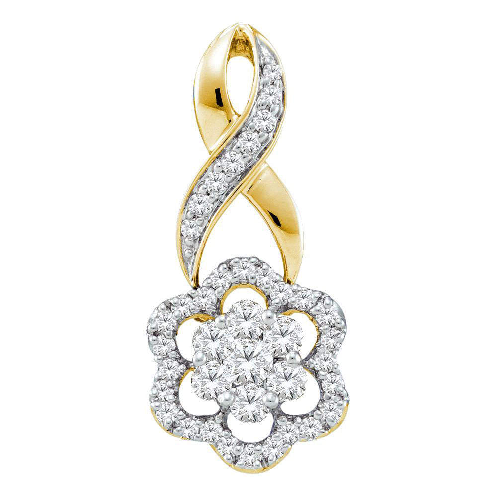 14kt Yellow Gold Womens Round Diamond Twist Flower Cluster Pendant 1/2 Cttw