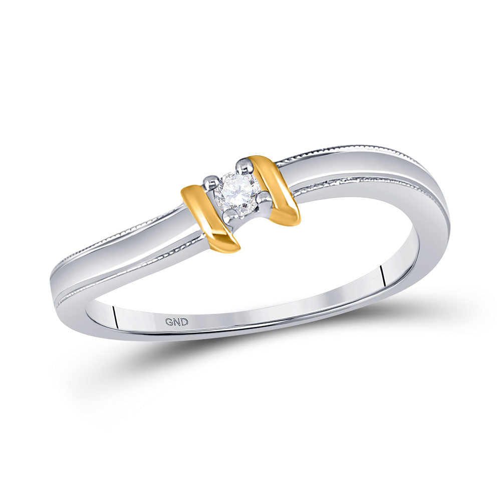 10kt Two-tone Gold Womens Round Diamond Solitaire Promise Ring 1/20 Cttw