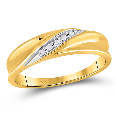 10kt Yellow Gold Mens Round Diamond Diagonal Row Band Ring .02 Cttw