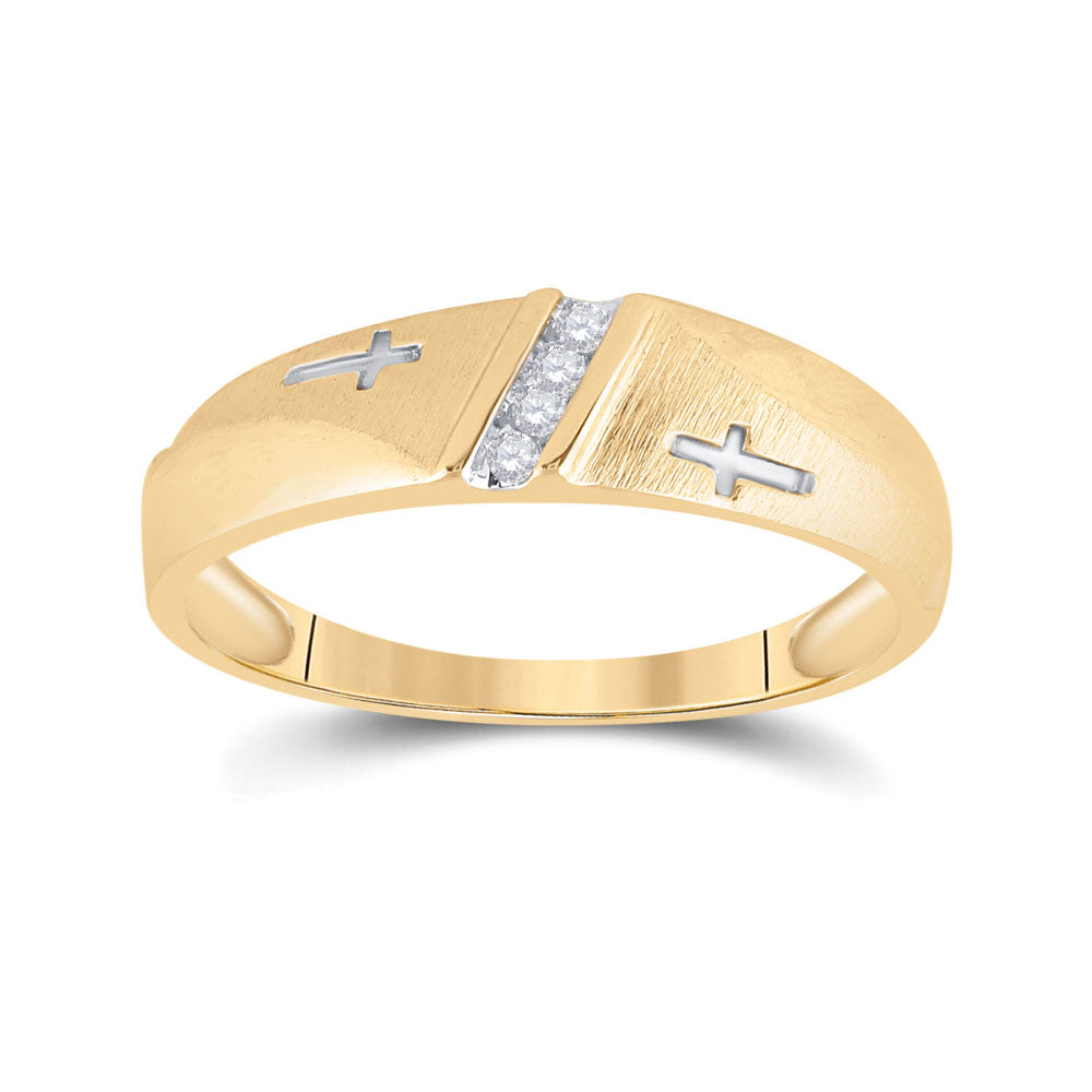 10kt Yellow Gold Mens Round Diamond Single Row Cross Wedding Band 1/20 Cttw