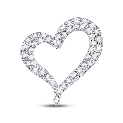 14kt White Gold Womens Round Pave-set Diamond Heart Outline Pendant 1/3 Cttw