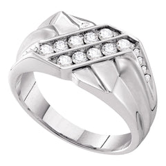 14kt White Gold Mens Round Diamond Double Row Rectangle Band Ring 5/8 Cttw