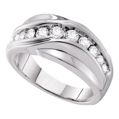 14kt White Gold Mens Round Diamond Curved Wedding Ring 1 Cttw