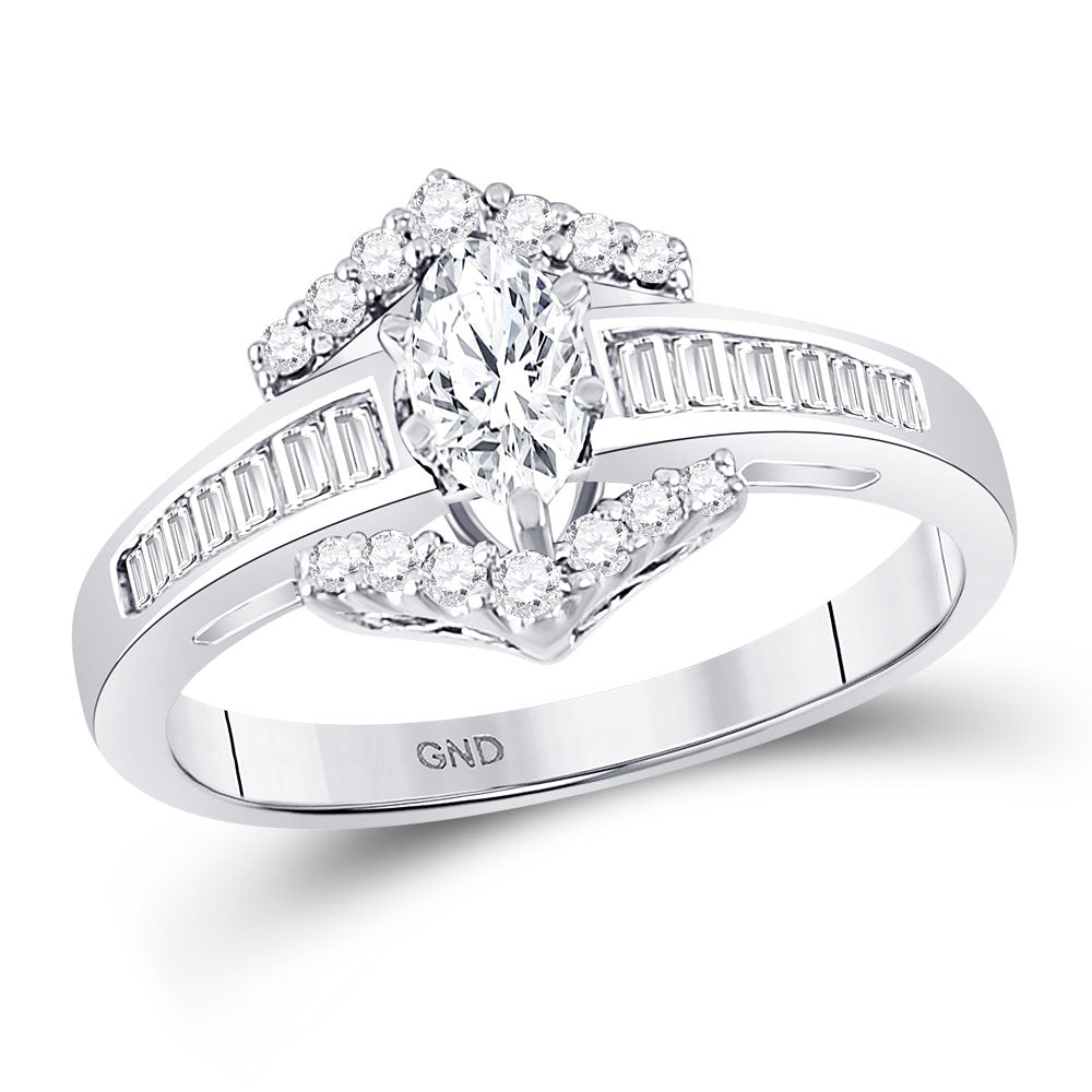 14kt White Gold Marquise Diamond Solitaire Bridal Wedding Engagement Ring 3/4 Cttw