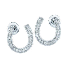 10kt White Gold Womens Round Diamond Horseshoe Stud Earrings 1/6 Cttw