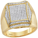 10kt Yellow Gold Mens Round Diamond Square Cluster Ring 5/8 Cttw