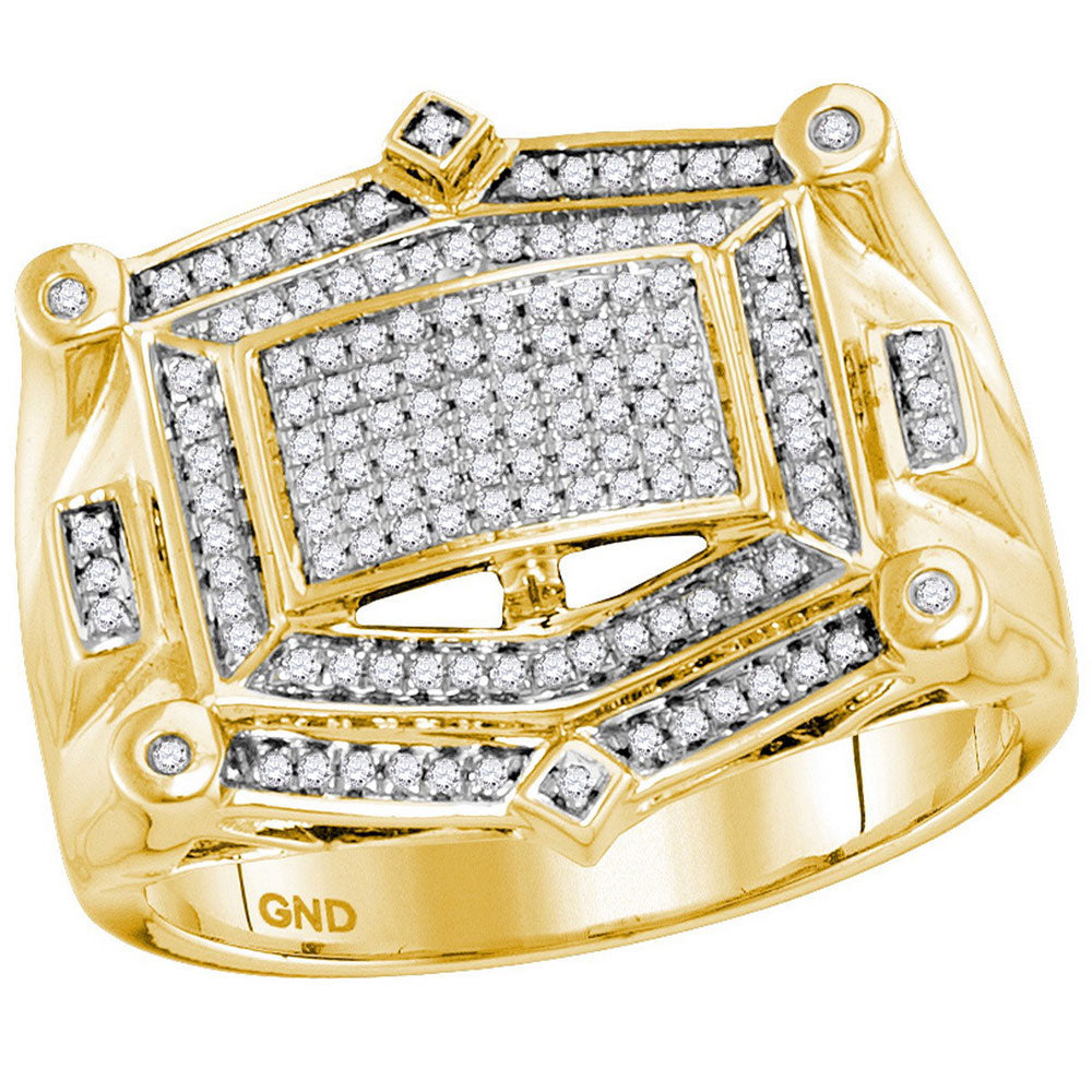 10kt Yellow Gold Mens Round Diamond Rectangle Cluster Studded Ring 1/2 Cttw