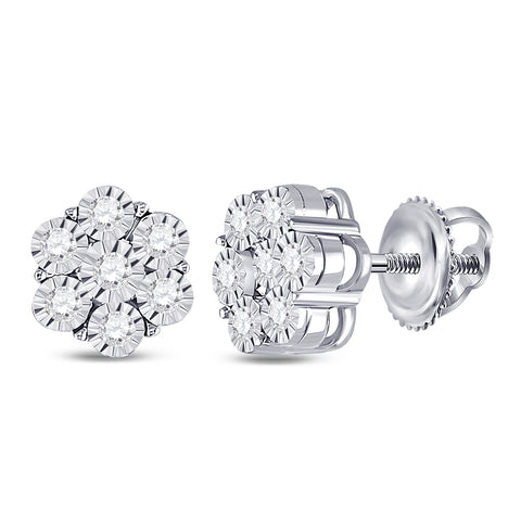 10kt White Gold Womens Round Diamond Flower Cluster Earrings 1/4 Cttw
