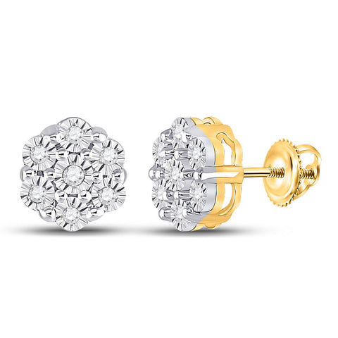 10kt Yellow Gold Womens Round Diamond Flower Cluster Earrings 1/10 Cttw