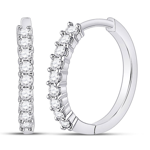10kt White Gold Womens Round Diamond Single Row Hoop Earrings 1/4 Cttw