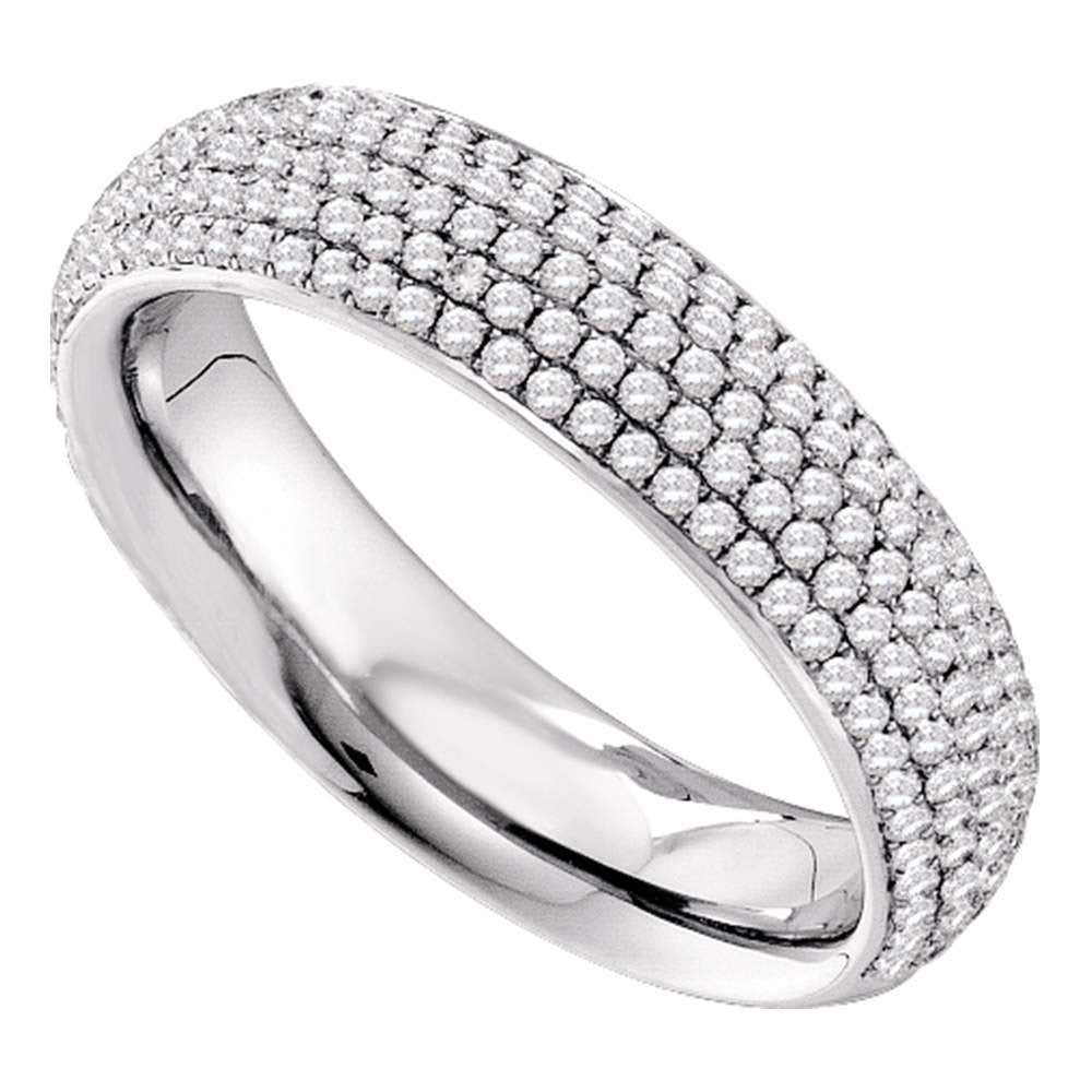14kt White Gold Womens Round Pave-set Diamond Wedding Band 3/4 Cttw