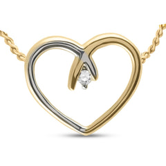 10kt Two-tone Gold Womens Round Diamond Heart Pendant .03 Cttw