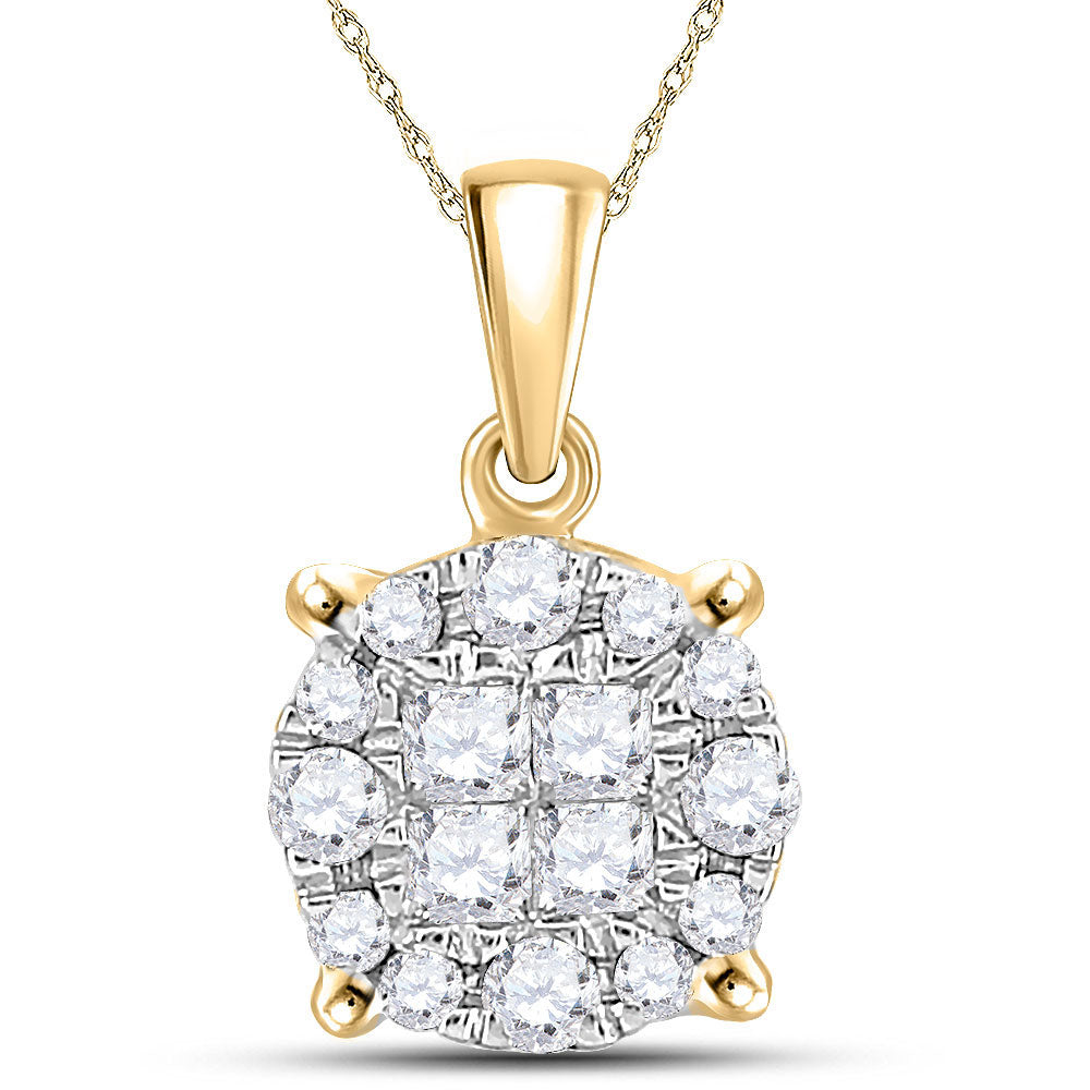 14kt Yellow Gold Womens Princess Round Diamond Cluster Pendant 1/4 Cttw
