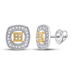 14kt Two-tone Gold Womens Round Diamond Square Earrings 1/6 Cttw