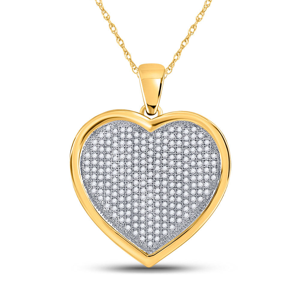10kt Yellow Gold Womens Round Diamond Heart Cluster Charm Pendant 3/4 Cttw