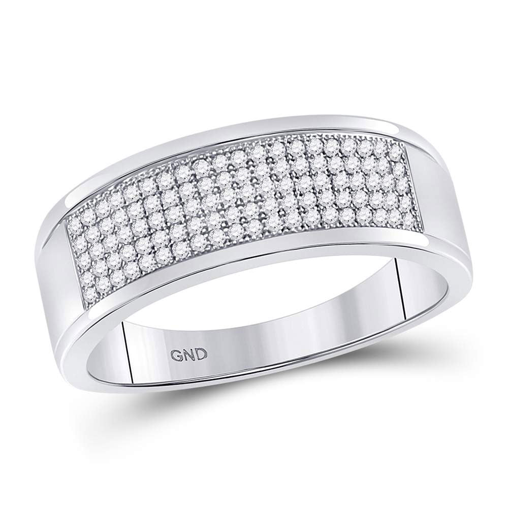 10k White Gold Mens Round Diamond Micropave Wedding Anniversary Band Ring 1/3 Cttw