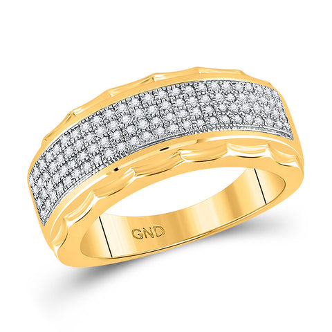 10kt Yellow Gold Mens Round Diamond Scalloped Edge Band Ring 3/8 Cttw