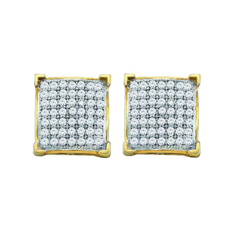 10kt Yellow Gold Womens Round Diamond Square Stud Earrings 1/2 Cttw