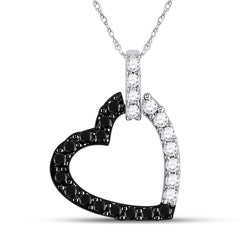 14kt White Gold Womens Round Black Color Enhanced Diamond Heart Pendant 1/4 Cttw