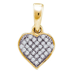 10kt Yellow Gold Womens Round Diamond Small Dainty Heart Pendant 1/10 Cttw