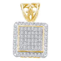 10kt Yellow Gold Womens Round Diamond Square Cluster Pendant 1/5 Cttw