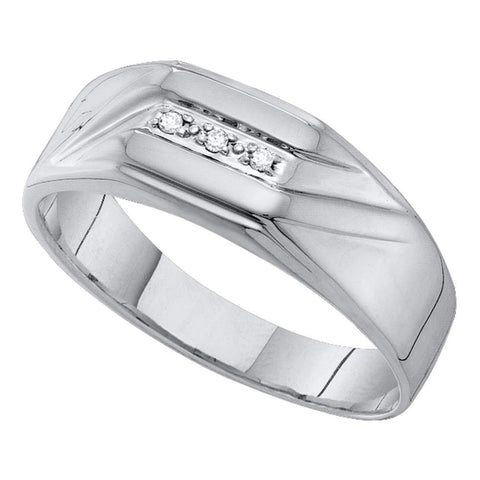 10kt White Gold Mens Round Diamond Grooved 3-Stone Flag Band Ring .03 Cttw